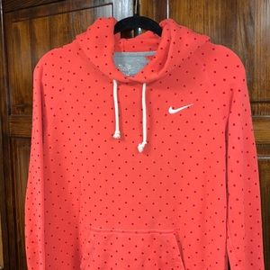 Nike orange polka dot hooded sweatshirt sz medium